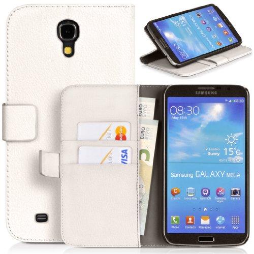 Donzo Wallet Structure Tasche für Samsung Galaxy Mega 6.3 GT-I9200/GT-I9205 mit Kreditkartenfächer und Standfunktion weiß