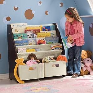 Kids Sling Bookshelf With Storage Bins Espresso by One Step Ahead