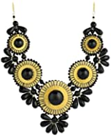 ZAD Beautiful XX-Large Gold Metal Glass Bead Medallion Bib Necklace