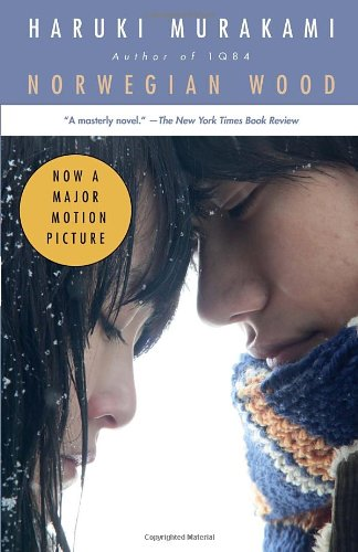 norwegian wood cover. young couple facing each other with eyes closed.