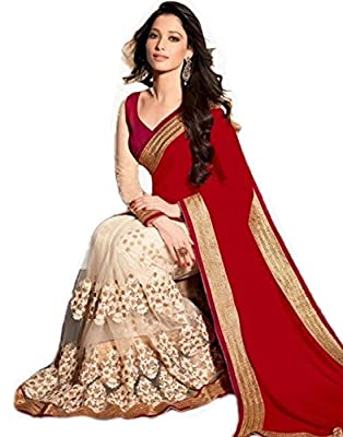 Khodiyar Creation Women's Red 60 Grm Embroidered Partywear And Wedding Saree