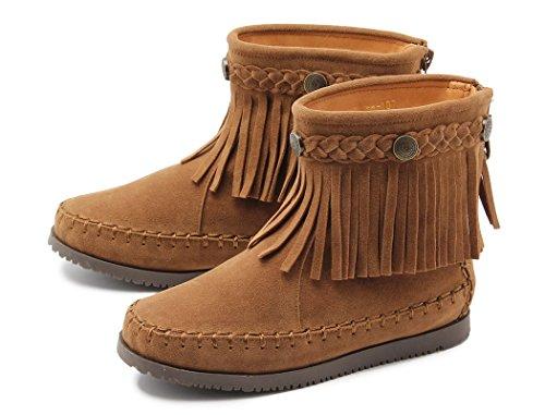 トドス(TODOS)キッズ バックジップ フリンジ ショート ブーツ おそろい フラット 防寒 子供用 02.キャメル 15cm