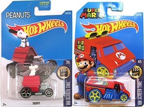 Hot Wheels Super Mario Cool One HW Screen Time & Snoopy Dog House #59 Peanuts Tooned car set (Hot Wheels Dog compare prices)