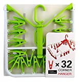 Mabalo 32 Clips Foldable Design Plastic Cloth Drying Hanger