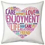 Valentine Gifts for Girlfriend Wife Birthday Anniversary Romantic Love Printed Cushion 12X12 Filled Pillow White Love Description Gift for Her Fiance