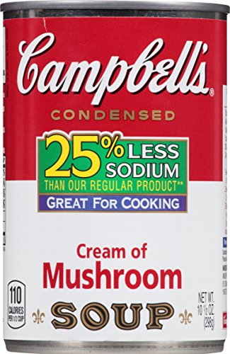 Campbell's 25% Less Sodium Condensed Soup, Cream of Mushroom, 10.5 Ounce (Pack of 12) (Campbell Cream Of Mushroom compare prices)