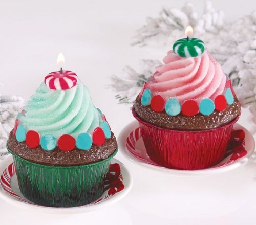 Chocolate Mint Holiday Cupcake Candles - Set of Four - Chocolate Mint Scent Scented