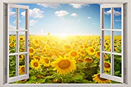 Sunflowers 3D Removable Wall Decals Stickers Posters Window Vinyl Art for Walls by Bomba-Deal 33.5\