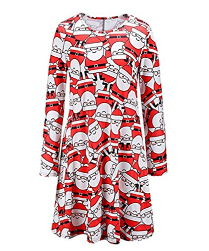 Print Santa Claus Red Dress