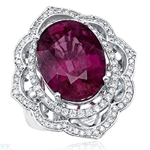 Cocktail Ring With 9.68ctw Precious Stones - Genuine Clean Diamonds and Rubellite Beautifully Designed in 18K White Gold. Total item weight 10.9g (Size 6.5)