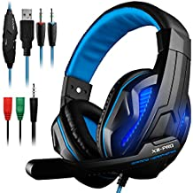 Gaming Headset DLAND 3.5mm Wired Bass Stereo Noise Isolation Gaming Headphones With Mic For Laptop Computer Cellphone PS4 And So On- Volume Control Black And Blue Blue With LED Light