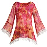Women's Pink Summer Floral Fringe Bell Sleeve Tunic Top