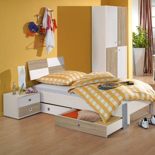 5-tlg Jugendzimmer weiß – Eiche sägerau Jugendbett Nachttisch Kleiderschrank