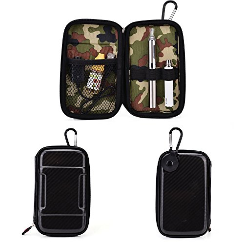 Vape & Mod Portable Travel Case Compatible with O Pen e-cig Vape G Pen eGo Atmos oil HERBAL wax Vaporizer Sticky MT3 |Semi-hard Protective Shell with Standing Capability & Carabiner Hook for Easy Attachment|Glossy Pearl Black & Green Camo (Ecig Drip Juice compare prices)
