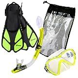 Seavenger Diving Snorkel Set- Dry Top Snorkel / Trek Fin / Single Len Mask / Gear bag- Yellow - Small/Medium