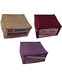 Kuber Industries Quilted Satin Large Saree Cover Set Of 3 Pcs (Multi)