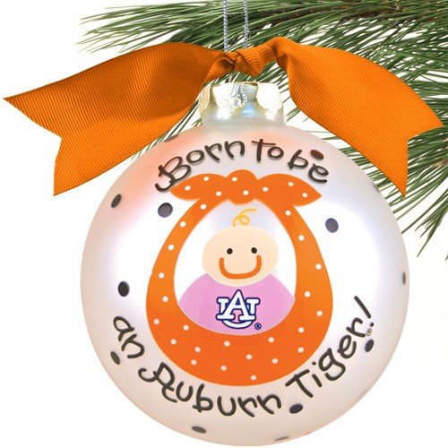 Auburn Tigers Silver Born To Be Baby Girl Christmas Ornament at Amazon.com