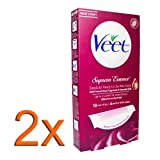 2x Veet® EasyGrip Ready-to-Use Wax Strips/ Surpreme Essence/ Velvet Rose and Essential Oils/ 18 strips + 4 wipes per pack