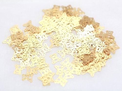 くま 熊 ベア 約5mm×5mm ゴールド ネイルアートパーツ 透かしパーツ ジェルネイル レジン デコ 埋め込み 素材