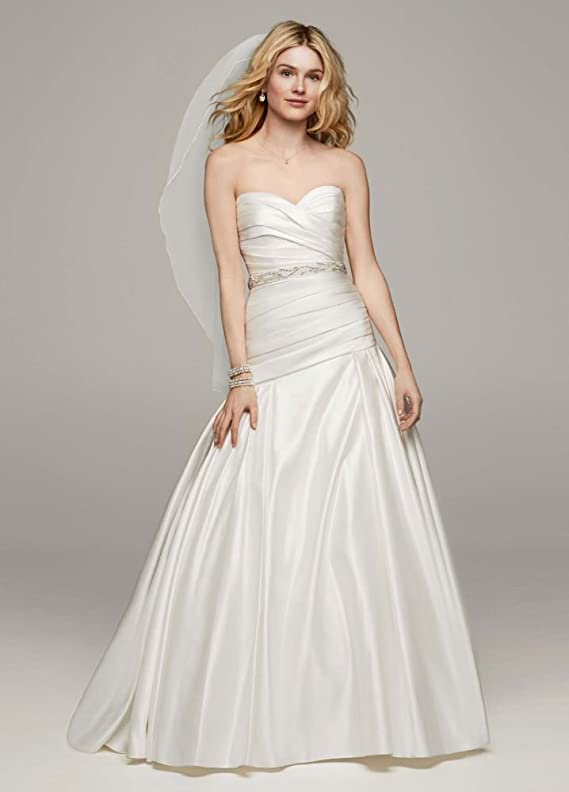 SAMPLE Strapless Satin A Line Wedding Dress with Ruched Bodice Style AI10043123