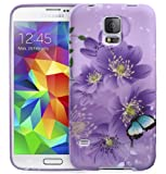 Fosmon DURA-DESIGN Series Slim Fit Case Flexible TPU Cover for Samsung Galaxy S5 (Purple Flower / Butterfly)