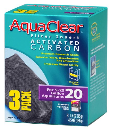 Aquaclear Activated Carbon Insert, 20-Gallon Aquariums, 3-Pack