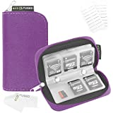 Eco-Fused Memory Card Carrying Case - Suitable for SDHC and SD Cards - 8 Pages and 22 Slots - Eco-Fused Microfiber Cleaning Cloth Included (Purple)