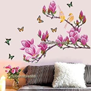 Huge Magnolia Flower Tree & Butterfly Birds Wall Stickers Art Decal Wallpaper from BeautyMall Co., LTD