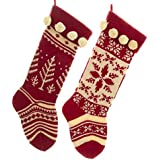 Set of 2 Red and White Knit Christmas Stockings