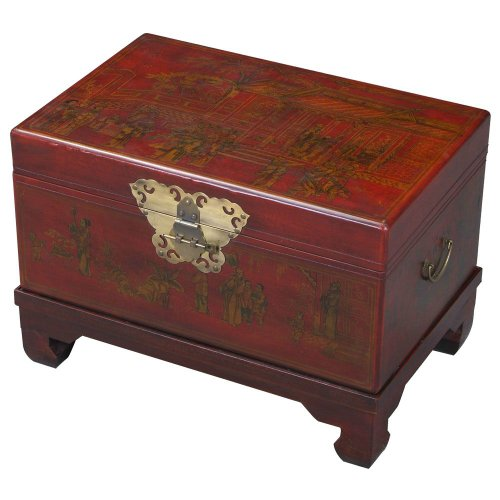Cheap EXP Handmade Oriental Furniture 26-Inch Antique Style Red Leather End Table/Storage Trunk (frc5042)