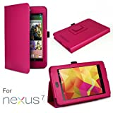 Exact ? Leather Folio Case for Google Nexus 7 Android Tablet by Asus With 3-in-1 Built-in Stand Hot Pink
