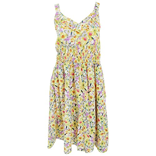 Womens/Ladies Garden Floral Frill Dress (Large - UK 16-18) (Yellow)