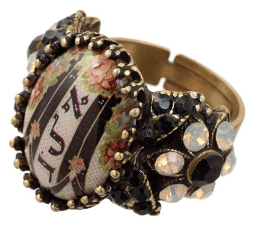 Michal Negrin Beautiful Adjustable Ring Decorated with Roses and Stripes Cameo, Engraved with one of the 72 Names of God, Alef Lamed Dalet in Hebrew Letters, with the Power of Protection Against the Evil Eye, Garnished with Black and Light Gray Swarovski Crystal Flowers; Hypoallergenic - Special Ordered and Shipped by Genuvo within 2 to 3 Weeks