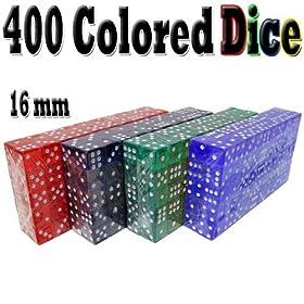 400 Bulk Colored Dice 16mm - Purple, Blue, Green, Red