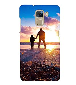 Printvisa Premium Back Cover Father Son At Sun Set Design For Huawei Honor 7