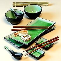 11 Piece Green Japanese Dinnerware Set w/ Sushi Mat Green