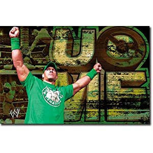 WWE John Cena - Green Shirt Wrestling Poster - 22x34 custom fit with RichAndFramous Black 34 inch Poster Hangers