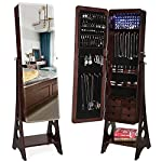 SONGMICS 8 LEDs Jewelry Cabinet Armoire with Beveled Edge Mirror, Gorgeous Jewelry Organizer Large Capacity Brown UJJC89K