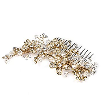 USABride Vintage Gold-Plated Rhinestone and Crystal Bridal Comb, Floral Bridal Headpiece 2239-G