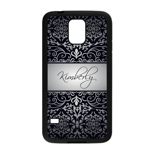 Personalized Black Vintage European Pattern Vs LightGrey Initials Unique Custom Samsung Galaxy S5 Best Durable Rubber+Plastic Cover Case Custom Color and Text,New Fashion, Best Gift (Samsung S5 Mini Initial Covers compare prices)