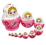 NuoYa001 10pcs New Beautiful Pink Wooden Russian Nesting Dolls Gift Matreshka Handmade