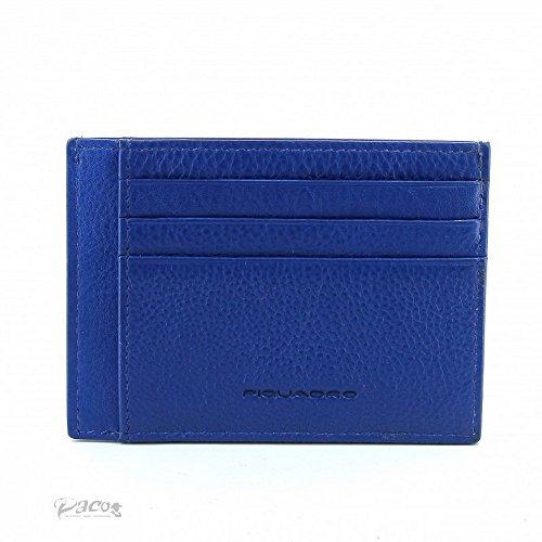 Piquadro Pulse Porta Carte di Credito, Pelle, Blu, 11 cm