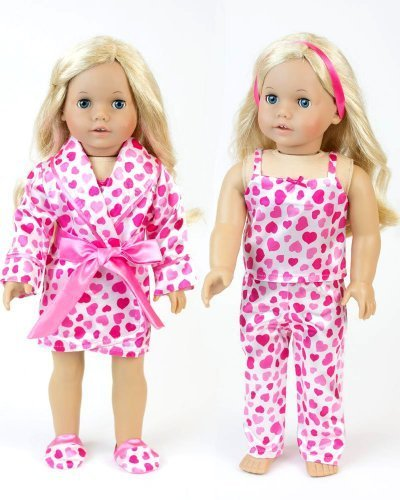 "18 Inch Doll Clothes Heart or Valentine Pajama 4 Pc. Set, Fits 18"" American Girl Dolls & More! All Matching Top/ Bottom Satin Heart Pj's, Robe & Slippers by Sophia's"