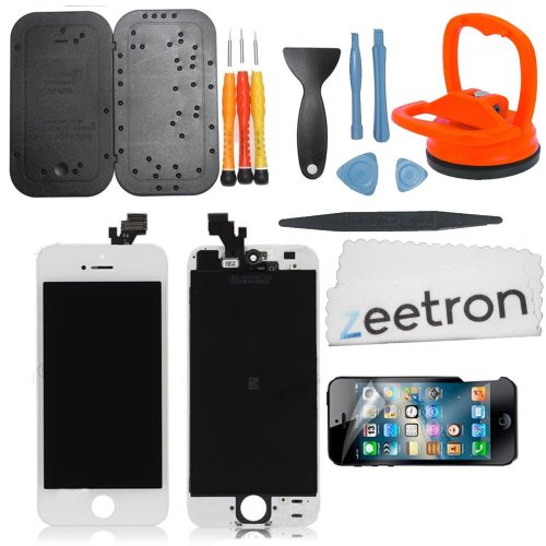 Zeetron Iphone 5 Retina Screen Repalcement Repair Assembly Do It Yourself Kit (White)