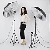 Neewer® Photography Studio 600W Day Light Umbrella Continuous Lighting Kit with 2 Umbrellas, 3 Light Holders, 3 Light Stands, 3 Light Bulbs and Carrying Case for Photography, Portrait, and Video Shoots