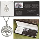 """Silver Plated Round Pendant """"The Tree of Life"""" with Cross on 18 inch Chain"""