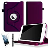 CellBee® Leather 360 Rotating Case Cover for Apple iPad 2 / 3 / 4 Generation Retina Tablet Auto Sleep/Wake Function with FREE Screen Protector and Stylus (Purple)