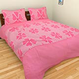 BRiDA Cotton Double Bedsheet With 2 Pillow Covers (225 Cms X 225 Cms, Pink)
