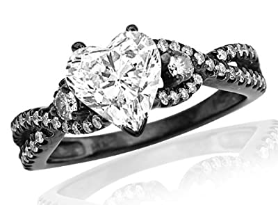 2.46 Carat Black Diamond Twisting Split Shank 3 Stone Diamond Engagement Ring (I-J Color, SI1 Clarity) - Heart Shape