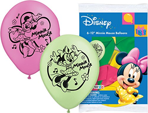 "Pioneer National Latex Minnie Mouse 6 Count 12"" Latex Balloons, Assorted"